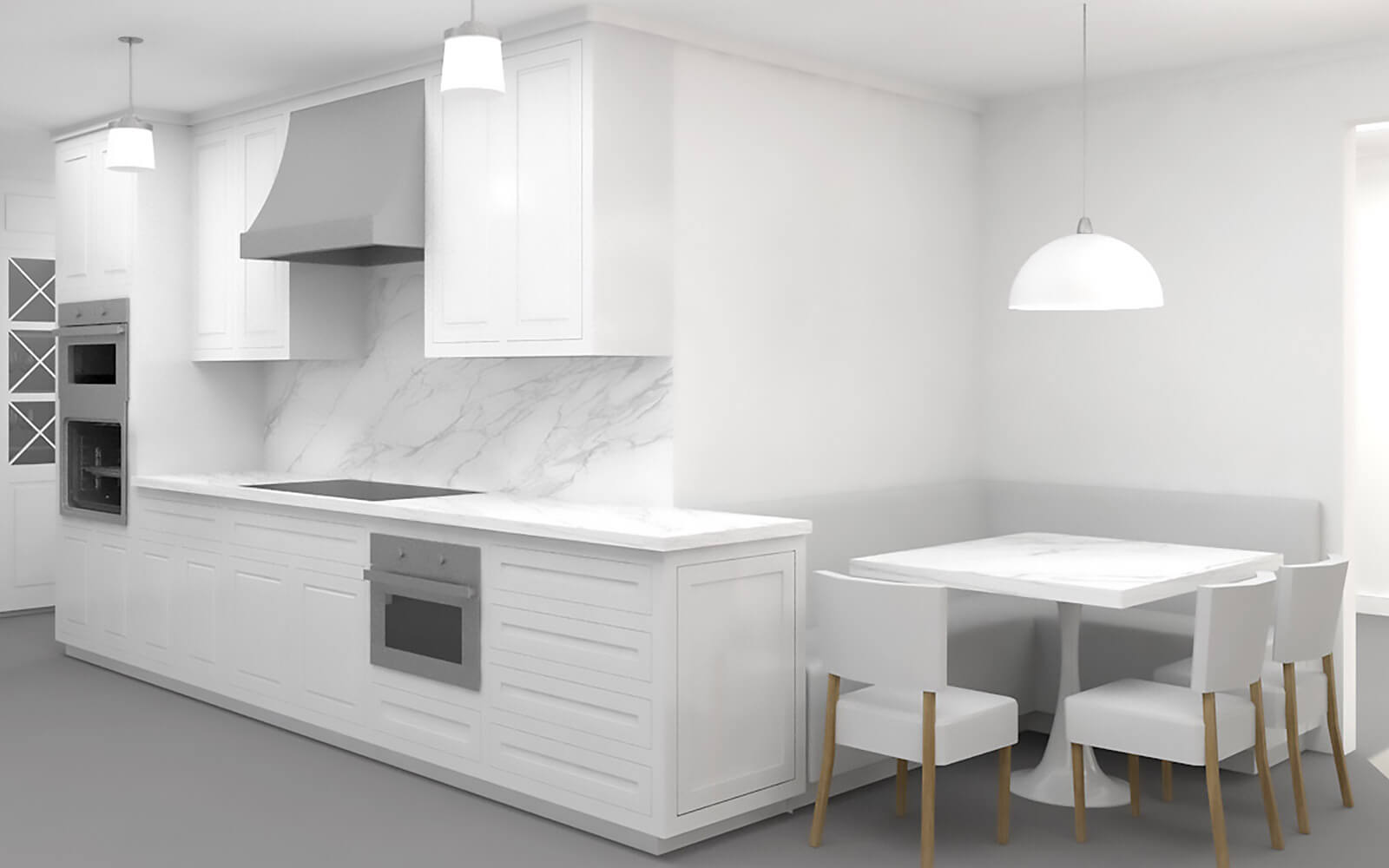 studio vara residential broadway co-op kitchen rendering