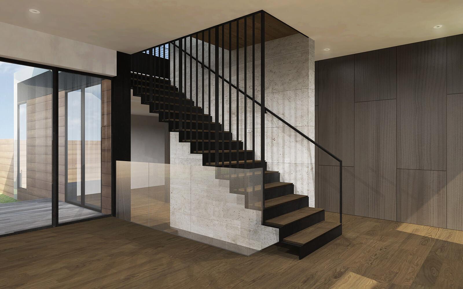 studio vara residential palo alto steel stair stone-slab wall