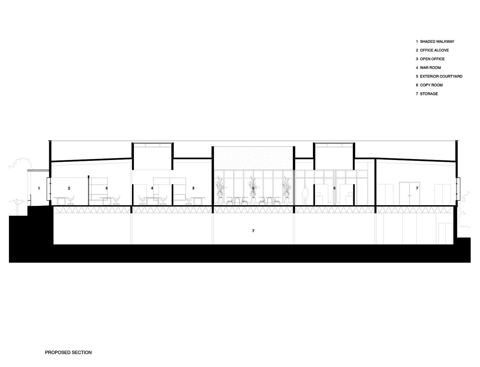 studio vara workplace redwood highway drawing proposed section