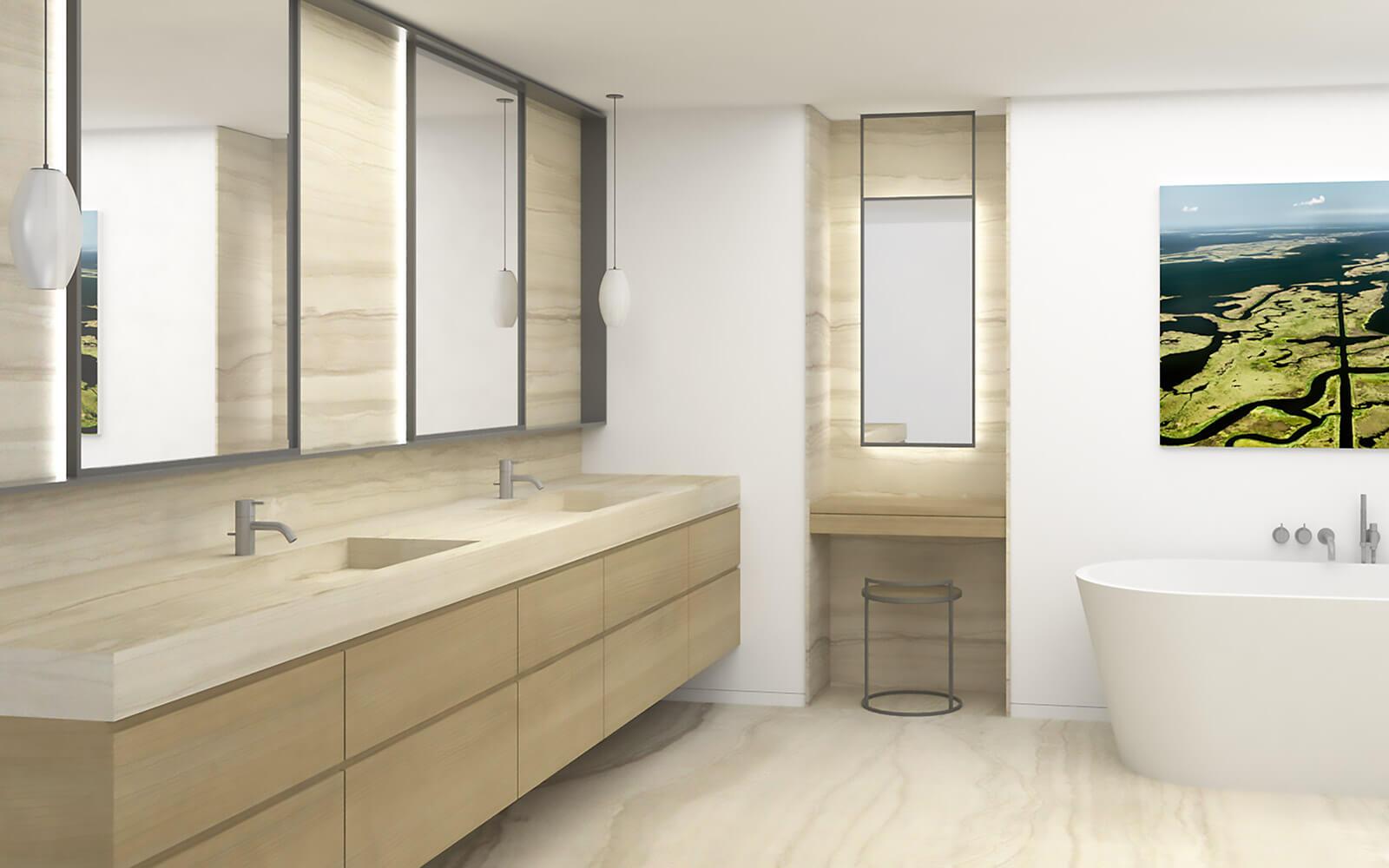 studio vara residential soma loft steel mirror frame travertine