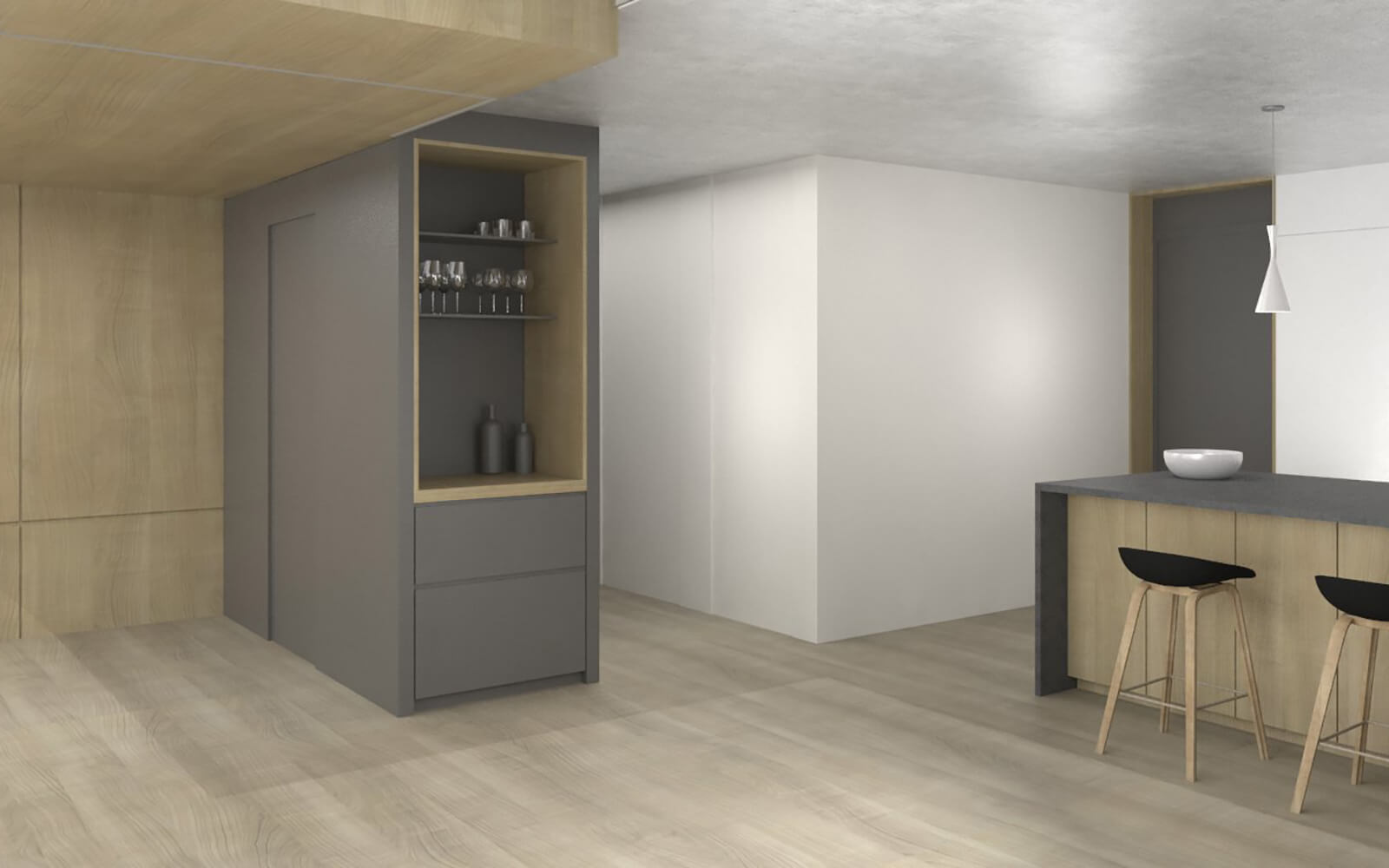 studio vara residential soma loft dining nook bar