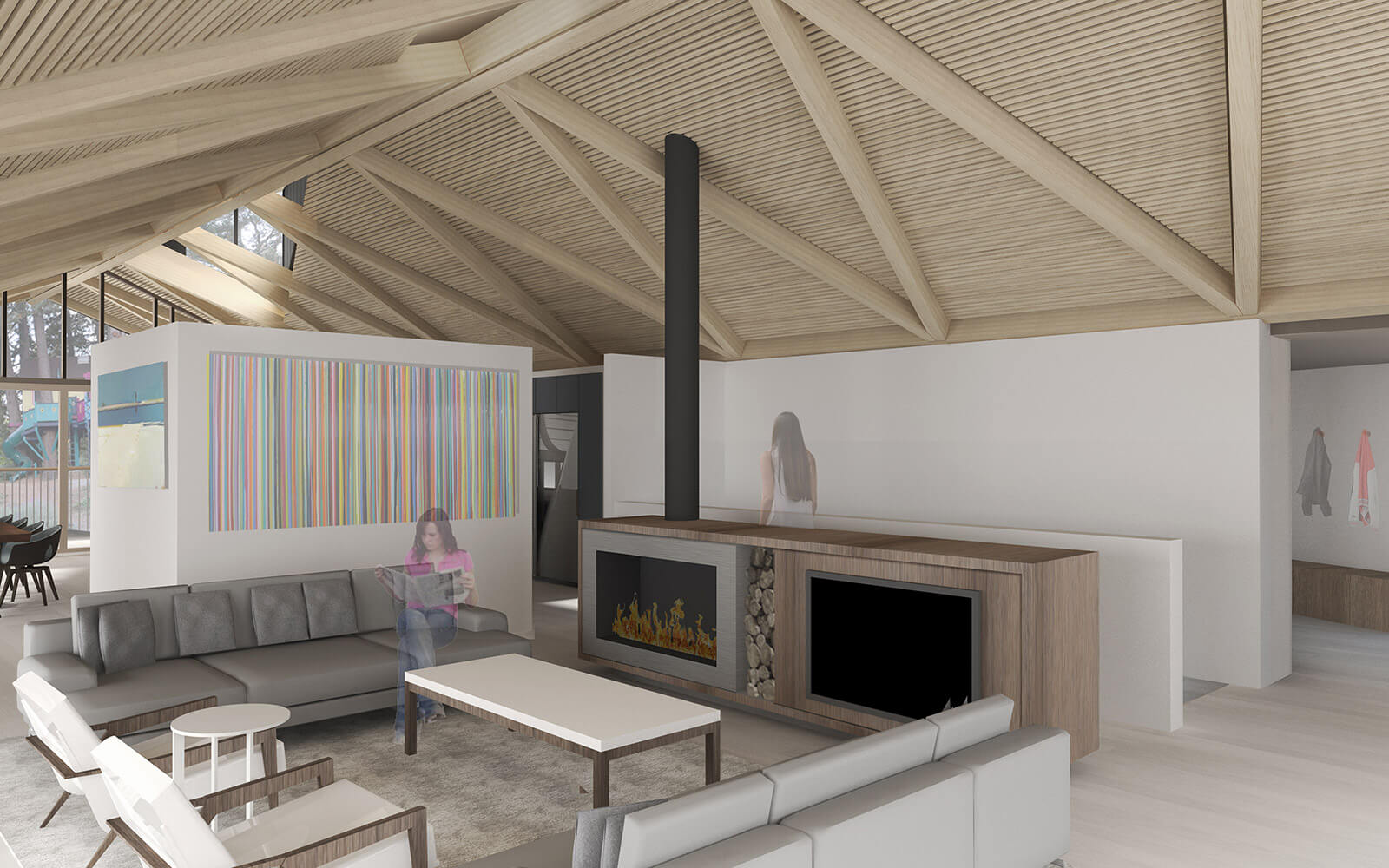 studio vara residential woodside ii fireplace structural ceiling