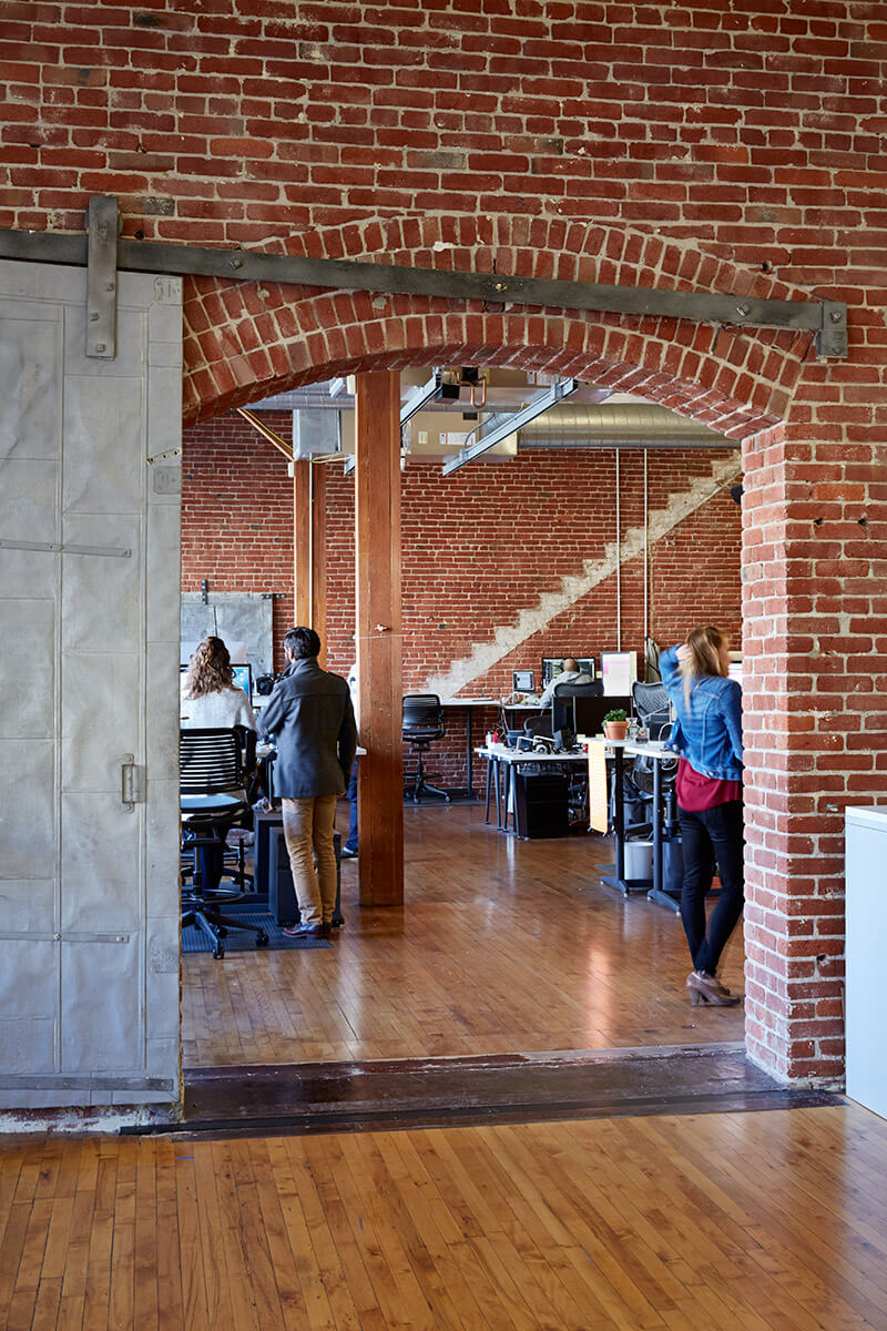 studio vara workplace odopod office entryway brick